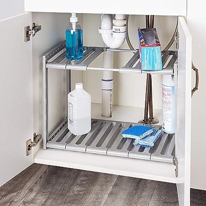 Taylor & Brown Organizador extensible para debajo del fregadero, estante ajustable de 2 niveles con 10 paneles extraíbles, multifuncional para cocina, ...