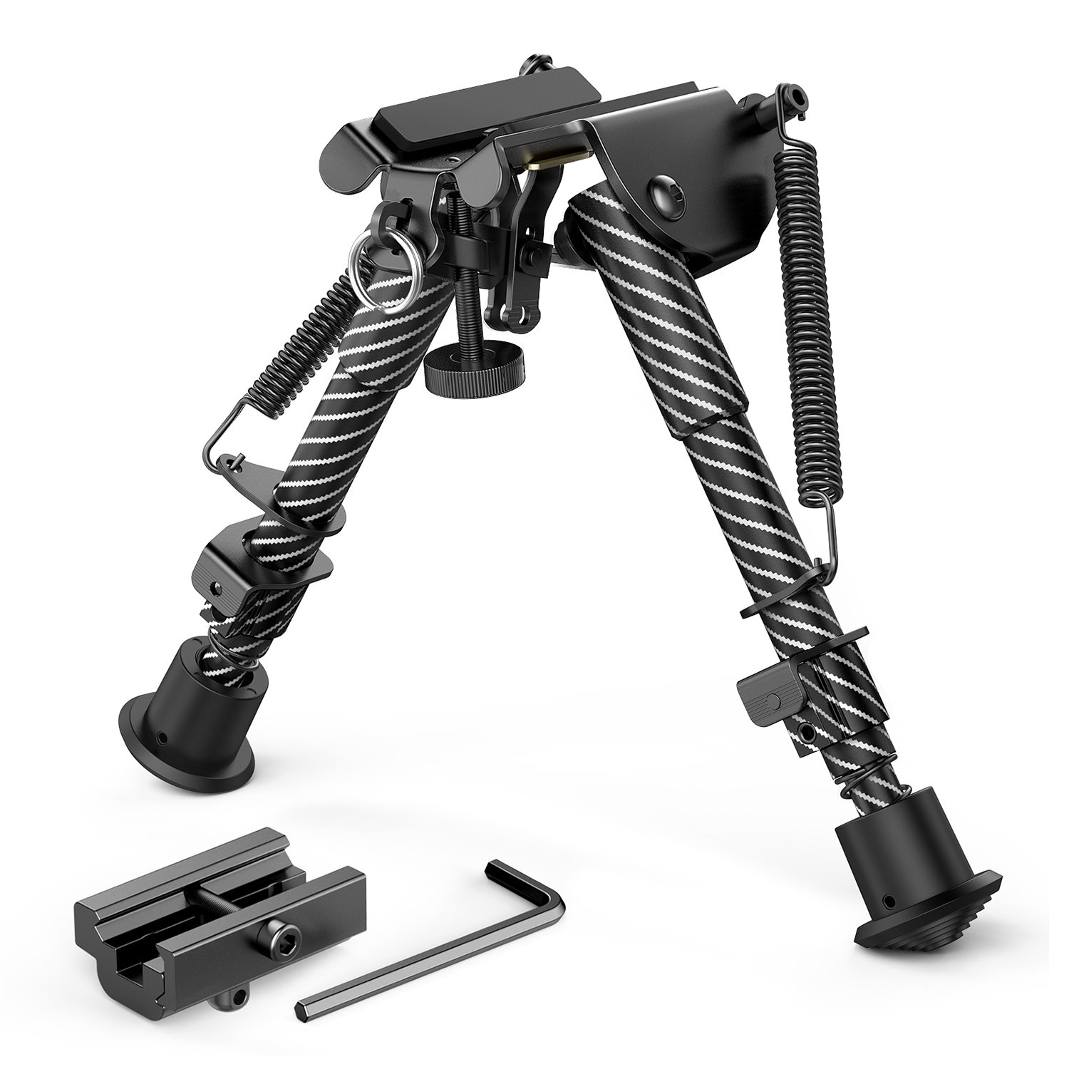 XAegis Rifle Bipod 6-9 inch Adjustable Spring Return Bipod with 21mm Picatinny Mount Adapter for Rifle Gun Shooting Hunting
