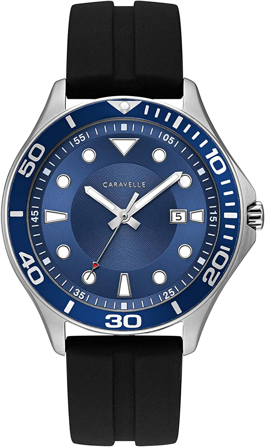 Caravelle Designed by Bulova Men s Stainless Steel Quartz Watch with Silicone Strap, Black, 18 Model 43B155
