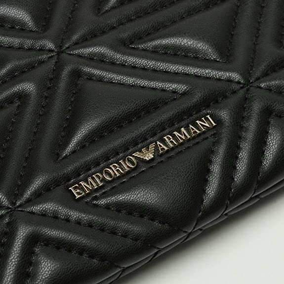 565b1ea5b6 Emporio Armani Busta Black Quilted Pouch Black Leather  Amazon.co.uk  Shoes    Bags