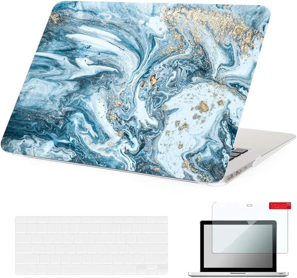 Se7enline 2009-2017 MacBook Air 13 Inch Case Frosted Laptop Covers A1369/A1466 Hard Case Coated Cover for MacBook Air 13-Inch with TPU Keyboard Cover,Screen Protector, Watercolor Blue Quicksand