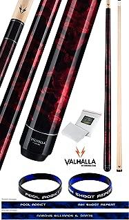 product image for Valhalla VA212 by Viking 2 Piece Pool Cue Stick Red Marble Paint No Wrap 16-21 oz. Plus Rosin Bag & Bracelet