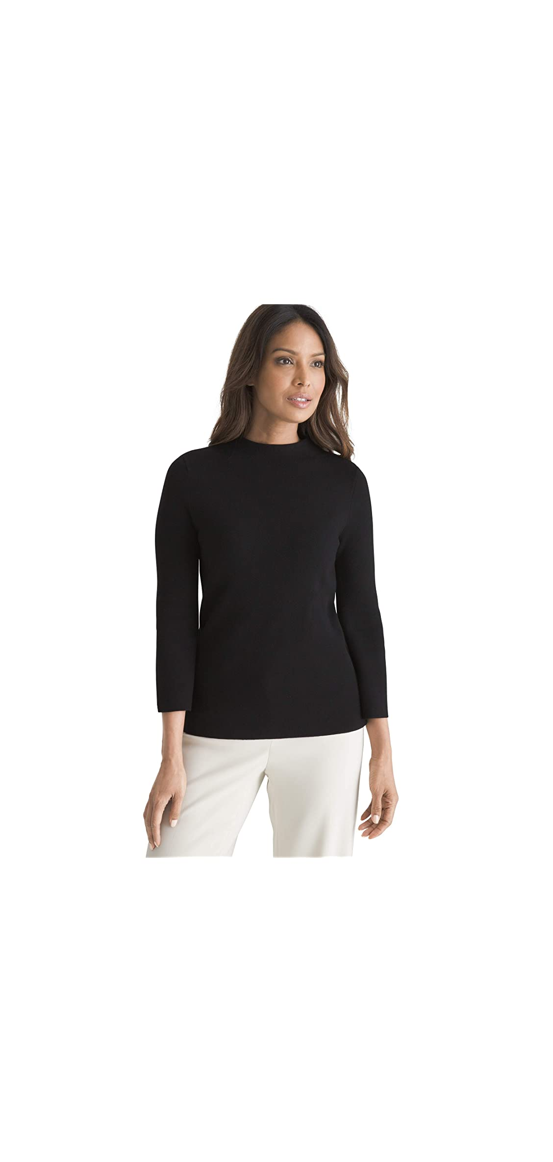 Womens Classic Fit Mock Neck Structured Pullover Solid