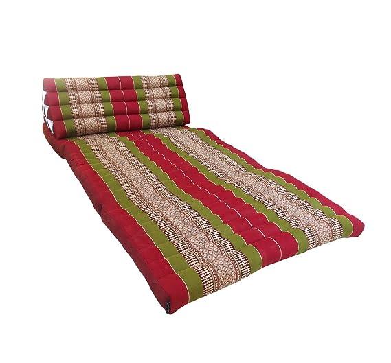 Colchón doble de meditación con cojín de respaldo triangular (fibra kapok, estilo oriental tradicional, para yoga, masaje o relajación, 3 pliegues, ...