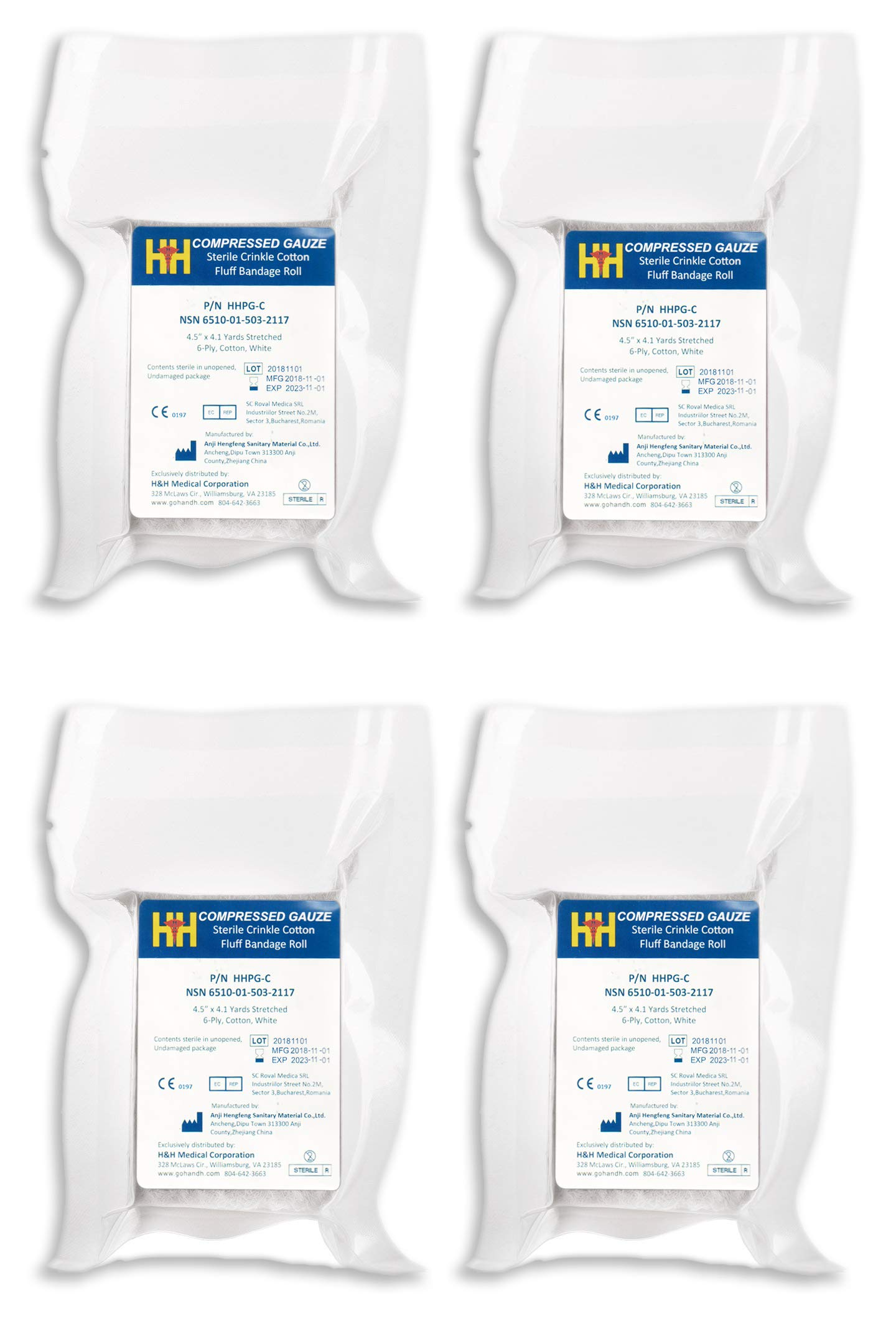 H&H Compressed Sterile Gauze HHPG-C, 4.5'' x 4.1 Yards, 6-Ply White Cotton, Essential First Aid and Stop The Bleed Kit Supply for Home, Medical, and Tactical Use by H& H Compressed Gauze