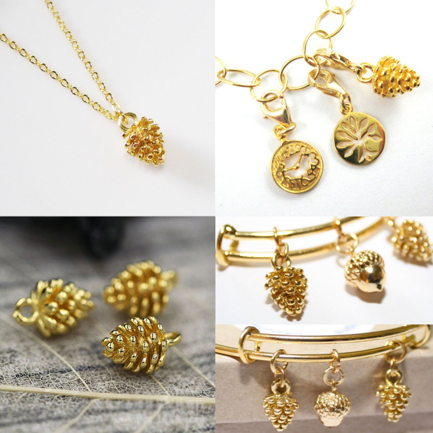 ea6739d077d Amazon.com  12PCS Gold Plated Brass Small Pine Cones Charms Pendant  Accessories Bulk Lots for Jewelry Making