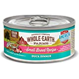 Whole Earth Farms Small Breed Grain Free Wet Dog Food, Duck Dinner (24) 3 oz Cans