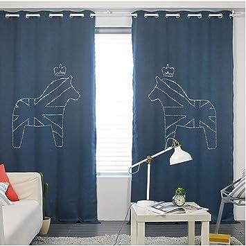 Amazon.com: Prielle CROWN Laser Hole Blackout Curtain Design ...