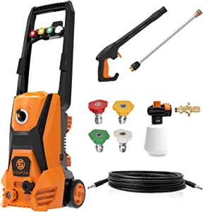 SUNPOW Electric Pressure Washer 2500 PSI 1.8 GPM High Power Washer Machine with 4 Nozzles, Detergent Tank & Hose for Home, Vehicle, Driveways, Garden