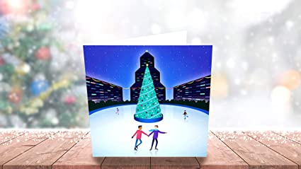 Festive Gay Couple – même sexe carte de Noël – Gay carte de Noël
