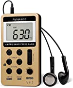 retekess V112 AM FM Radio Portable Mini Radio with Earphone Pocket