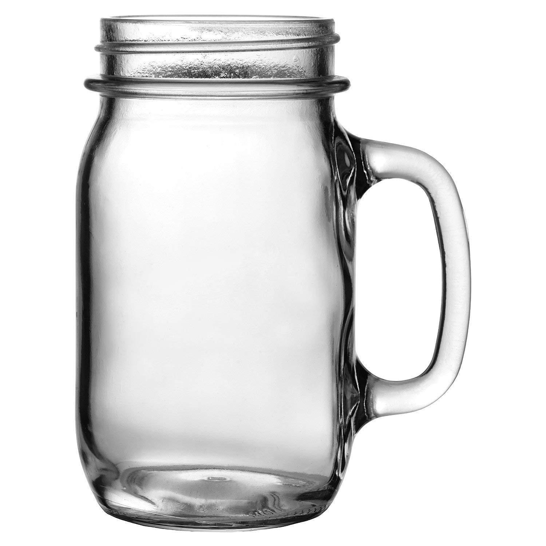 Heavy Glass Jar Drinking Mug (1)