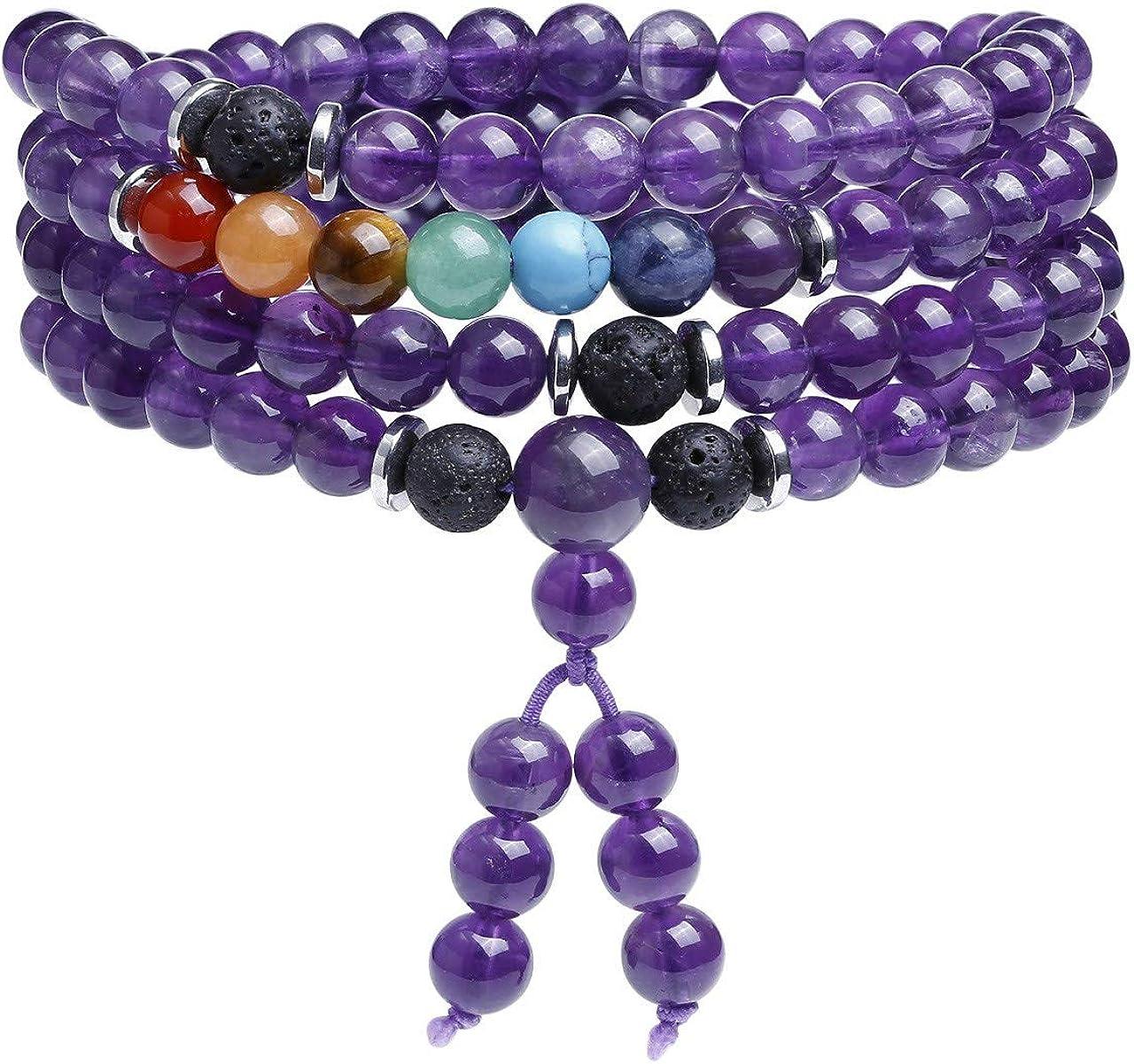 8mm Matte Agate Color Stone 108 Beads Handmade Mala Bracelet Chakra Prayer