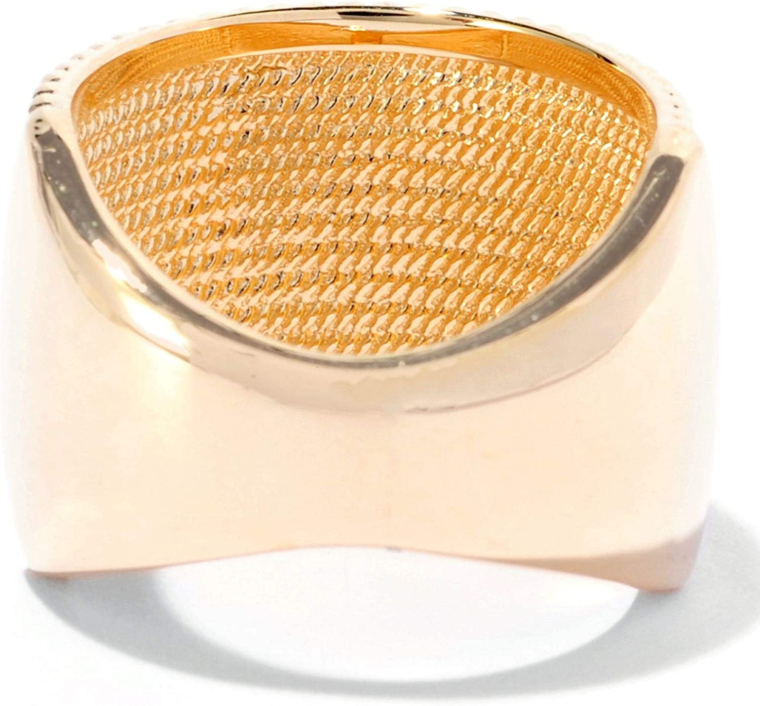 April Venus 18K Gold Plated Bead Textured Wide Band Ring