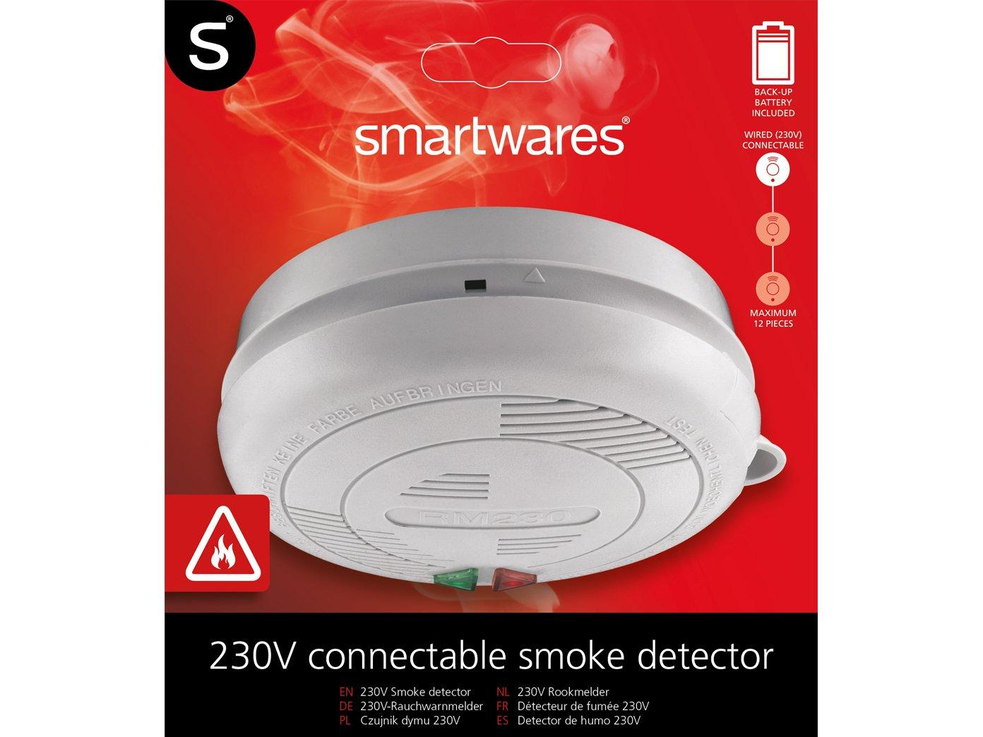 Juego de 10 reticulables/koppelbare Detector de humo con conexión de 230 V + Seguridad batería: Amazon.es: Bricolaje y herramientas