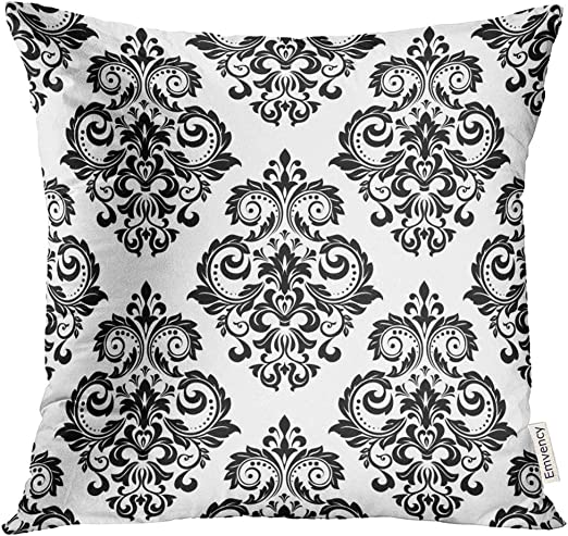 """Black And Grey Flower Design Fabric Cushion Covers 16/"""" X 16/"""""""