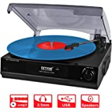 AMOS USB Turntable 3 Speed Vinyl Record Retro LP Player Recorder Vinyl to MP3 Digital Converter with Stereo Speakers & RCA Output + Audacity Software