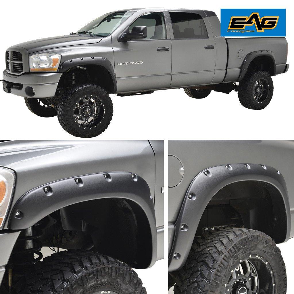 EAG 02-08 Dodge Ram 1500/03-09 Dodge Ram 2500/3500 HD Fender Flares Rivet Style Bolt on Pocket E-Autogrilles