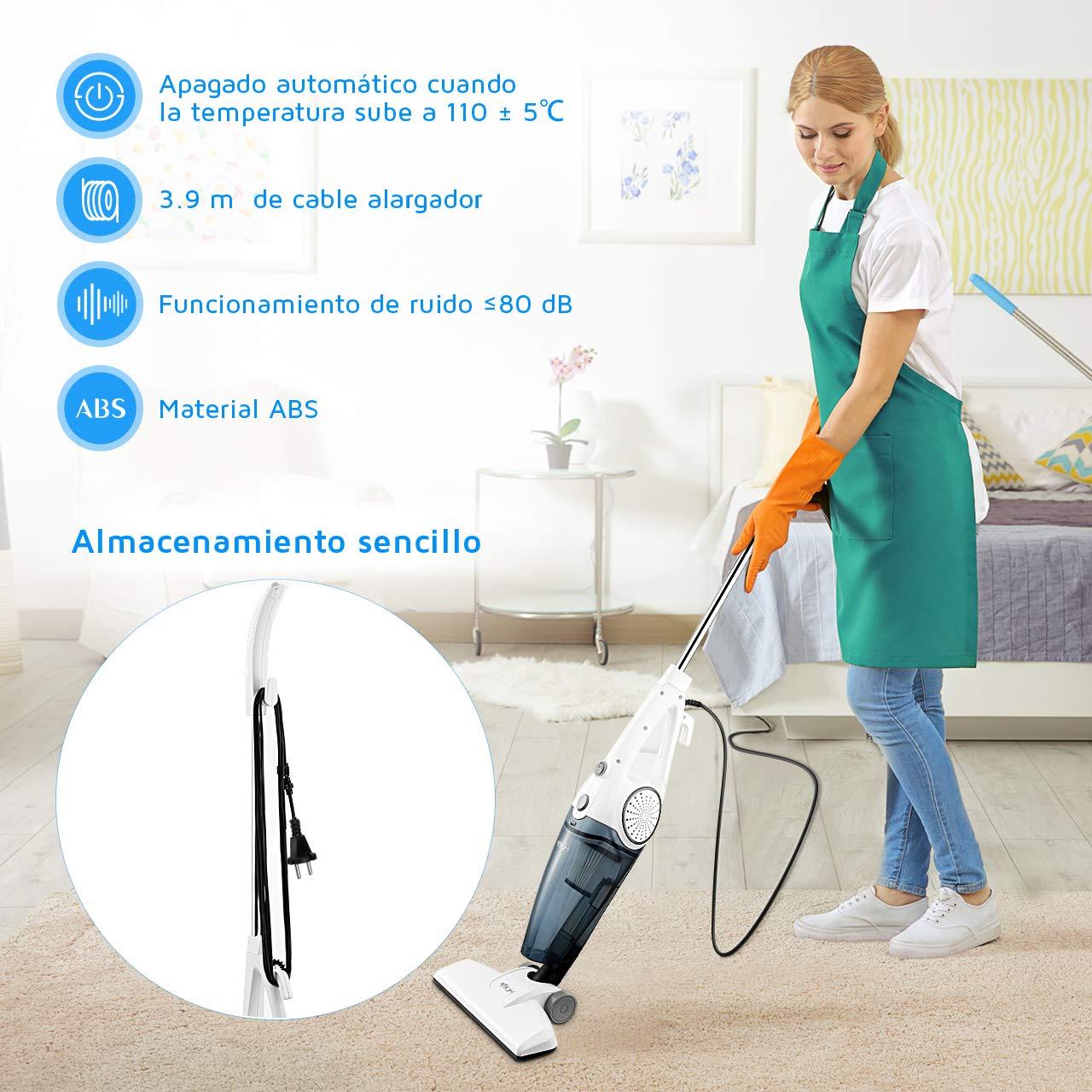 2019 Nuevo Aspirador de Pie con 2Filtro HEPA Reutilizable Clase de Eficiencia Energ/ética A Aspirador Vertical /& de Mano 2 en 1 Holife Aspiradora Escoba Potencia de 12Kpa 600W