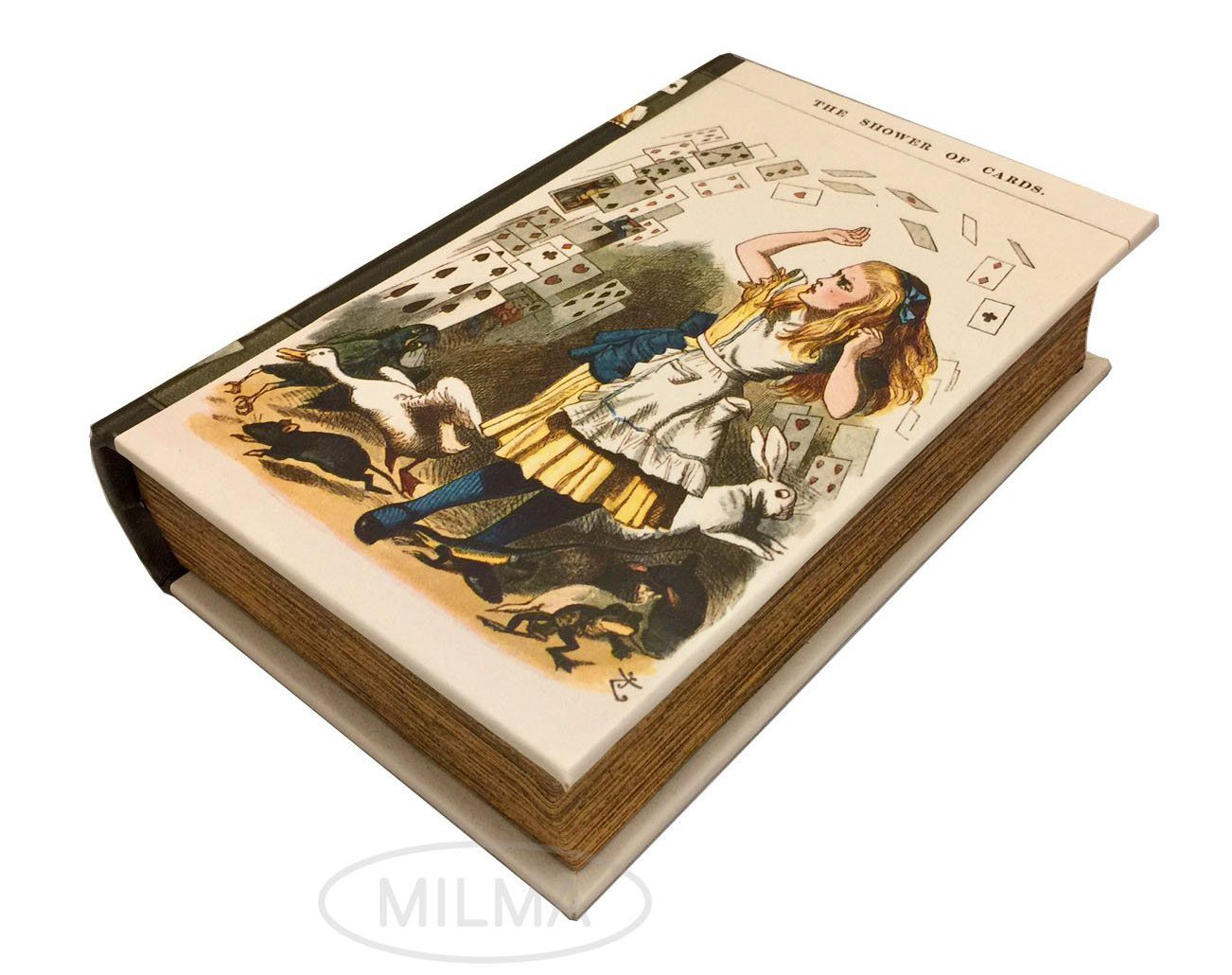 """The Shower of Cards"" from Alice in Wonderland Book Box Stash Box Leather Over Wood Secret Storage Box Keepsake PolandWood E54WB"