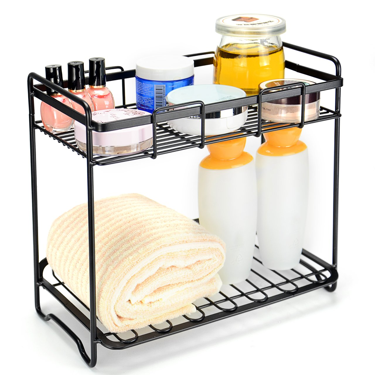 SortWise 2-Tier Multi-Purpose Rack Kitchen Bathroom Cosmetic Organizer Storage Holder Wire Shelf for Spice Jars Shampoo Nail Polish (Black)
