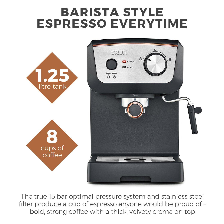 Crux 15 Bar Espresso Filter Coffee Machine  Authentic Italian
