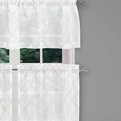 Home Maison Devyn Geometric Kitchen Window Curtain Tier Valance Set, 2 28 X 36 Inch2 1 56 X 15 Inch, White