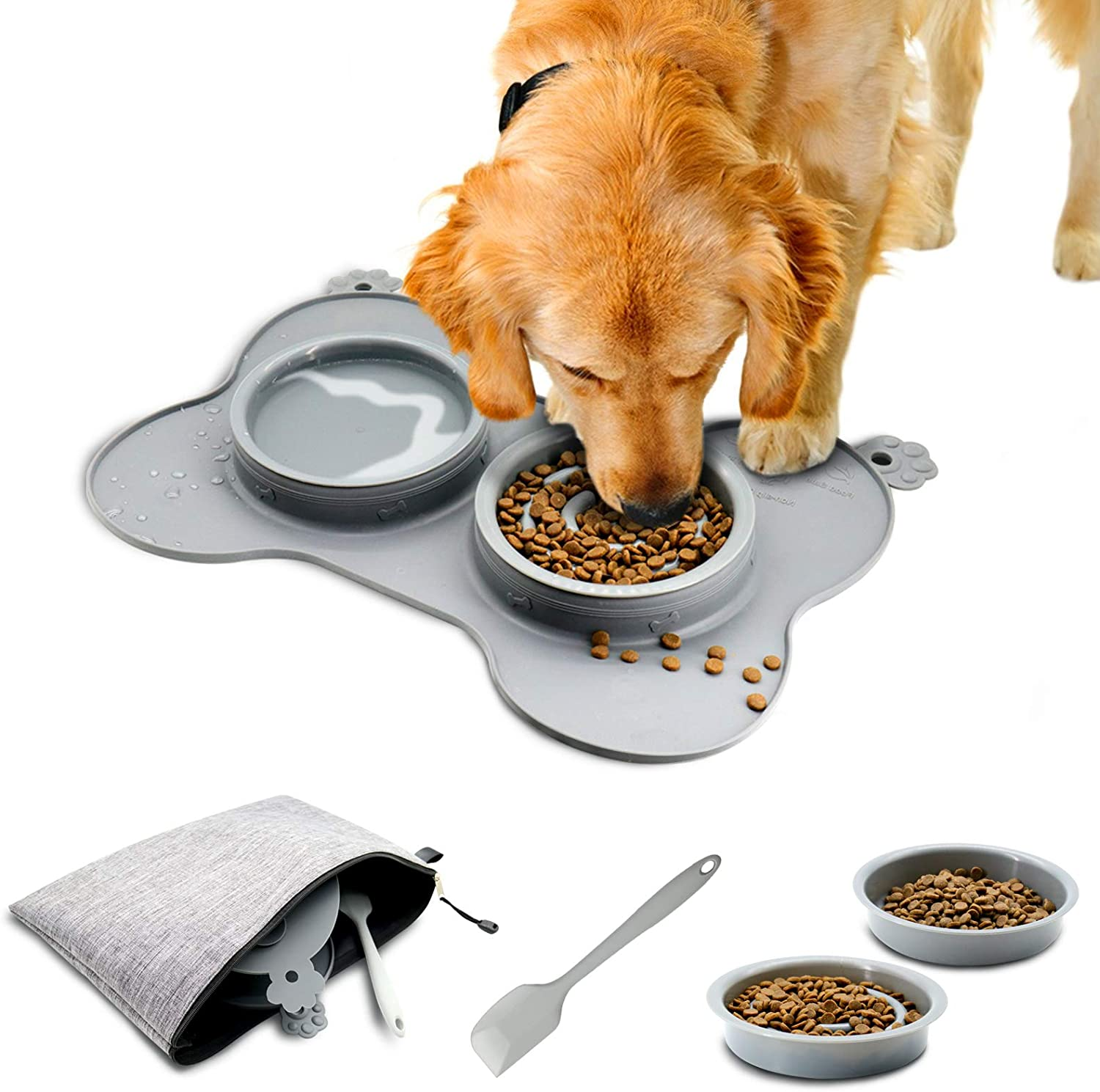 Three Capreolus Dog Slow Feeder Bowl for Mini Small Dogs Cats Puppy, Pet Dishes Anti-Choking Cat Food and Water Bowls with Non Skid Non Spill Silicone Mat and Spatula