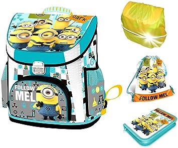 2e839980707eb Minions Schulranzen Unisex für Mädchen und Jungen 1 Klasse Tornister  Schulrucksack Schultasche Set 4 teilig für