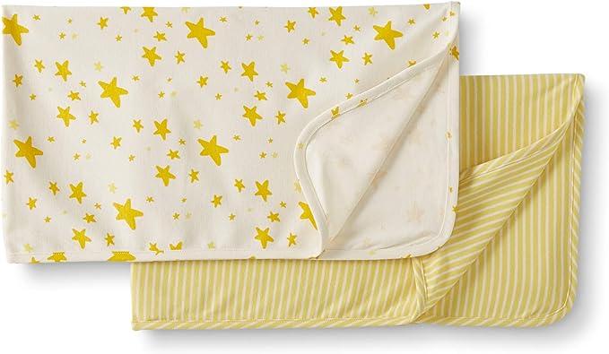 Moon and Back de Hanna Andersson - Juego de 2 mantas de algodón orgánico para bebé, Amarillo, One Size: Amazon.es: Ropa y accesorios