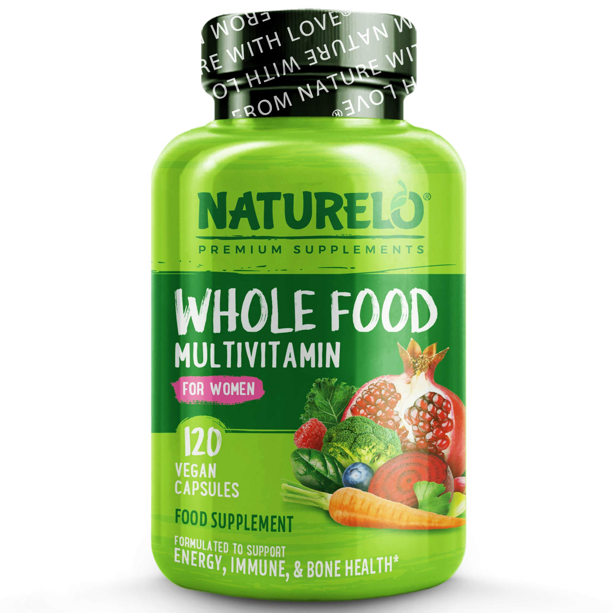 NATURELO Whole Food Multivitamin for Women - with Natural Vitamins, Minerals, Botanical Blends - Best Complete Formula for Wellness, Energy, Brain, Eye Health - 120 Vegan Capsules | 1 Month Supply