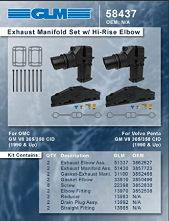 OMC 305 5.0 5.0L 350 5.7 5.7L GLM Marine Exhaust Manifolds Set//2 1990-Up