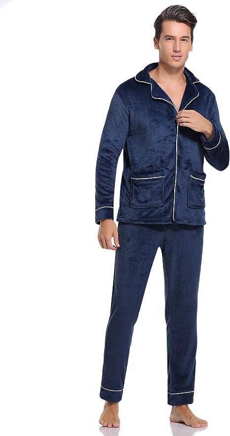 Aibrou Pijamas Hombre Invierno Franela de Manga Larga Conjunto de Pijama para Hombre Pantalones Largo Polar Ropa de Casa 2 Piezas: Amazon.es: Ropa y accesorios