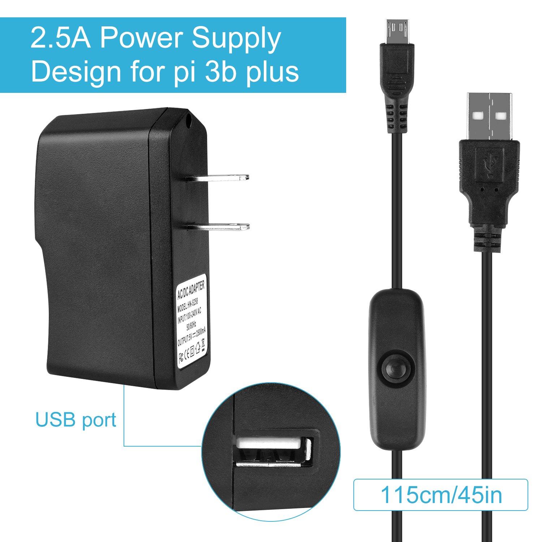 2.5A Power Supply BS001 BONROB Raspberry Pi 3 B Case with Fan On//Off Switch for Raspberry Pi 1 2 3 Mobel B Pi3 B 3 Pcs Heatsinks