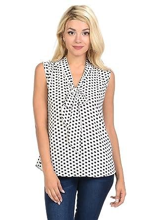 a5b597366b11c8 Ladybug Womens Casual Koshibo Polka Dots Print tie bow V-Neck Sleeveless  Blouse Tops (Small