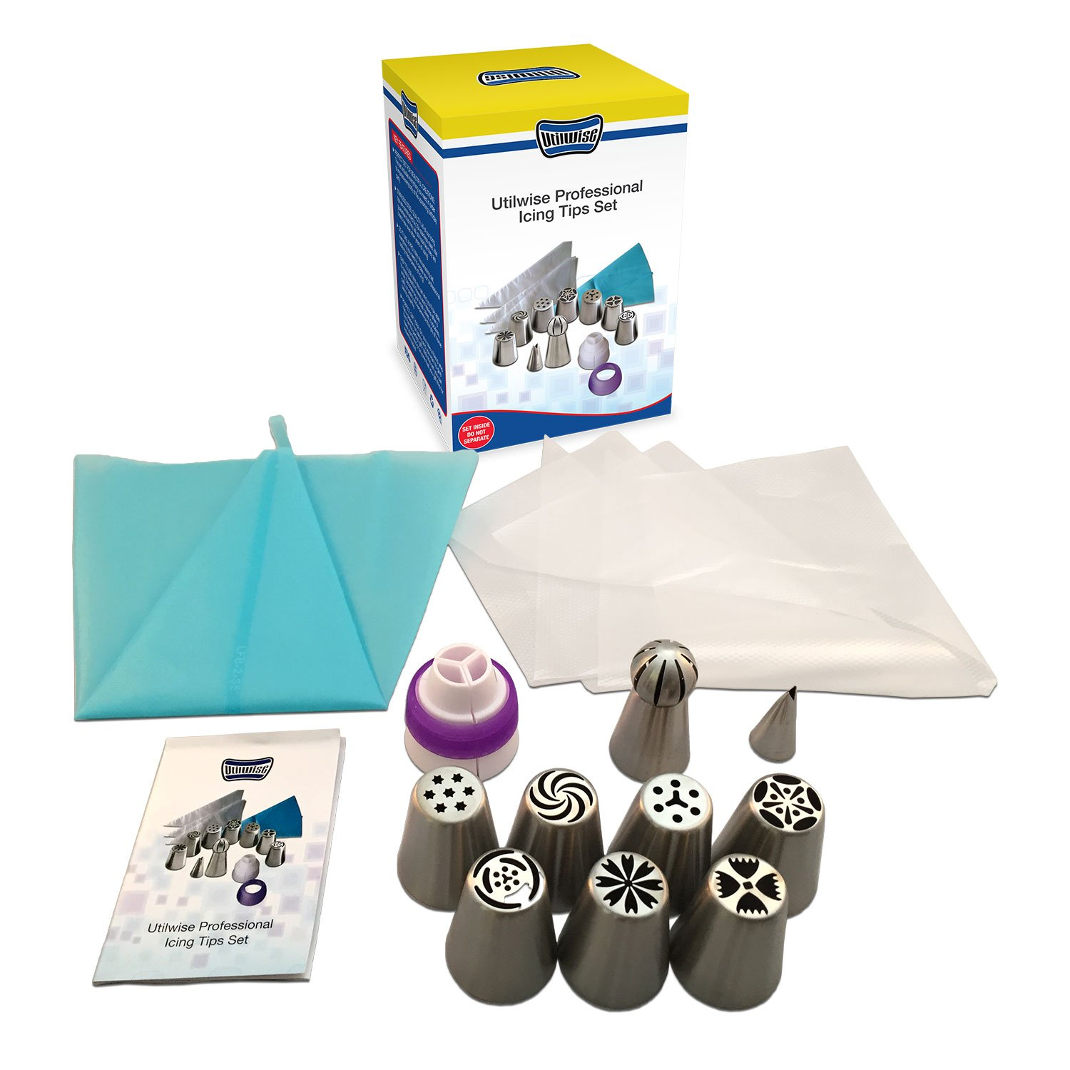 Utilwise Russian Piping Tips 14 PCS Set (7 Russian Tips, 1 Sphere Tip, 1 Leaf Tip, 1 Tri-Coupler, 1 Reusable Silicone Pastry Bag, 3 Disposable Pastry Bags Extra Large 304 Steel Instructions Included