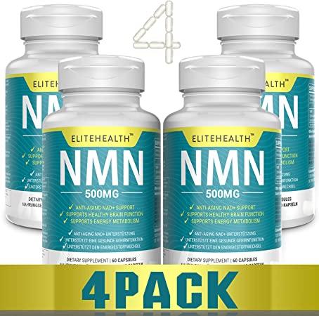 Four Bottles PUREST NMN for NAD Support   60 Grain   500mg   Supplement for Anti-Aging & Energy Metabolism   Vegan Friendly (4 Pack)