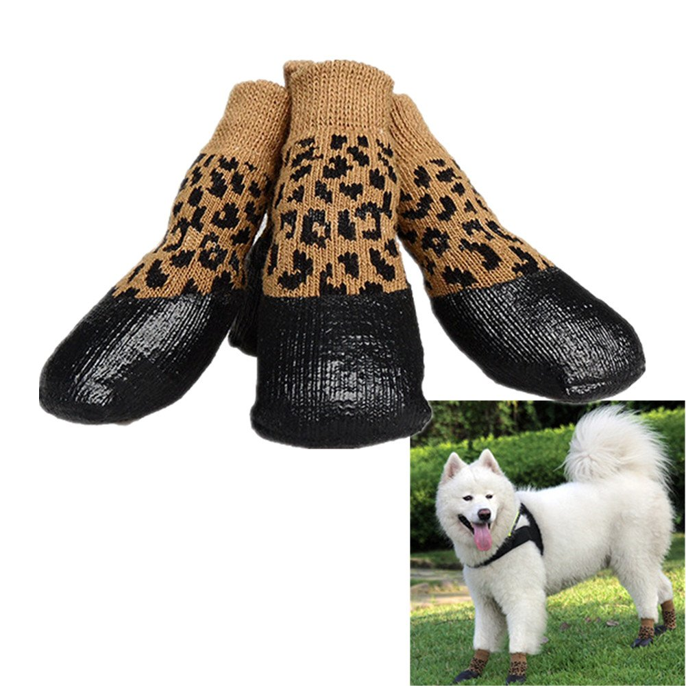 Lsgoodcare Set of 4 Waterproof Nonslip Anti-Stain Pet Dog Outdoor Sports Socks Shoes Boots,Protective Paw Shoes,Cotton Socks Rubber Sole Material,Elastic Top Line Design-Yellow Leopard (6)