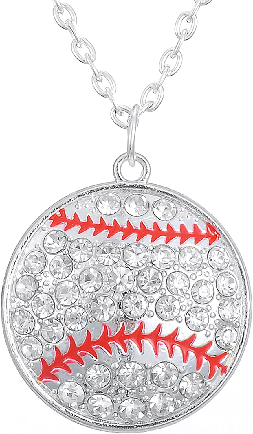 Lemegeton Antique Silver Plated Crystal Softball Pendant Necklaces for Women/&Girls