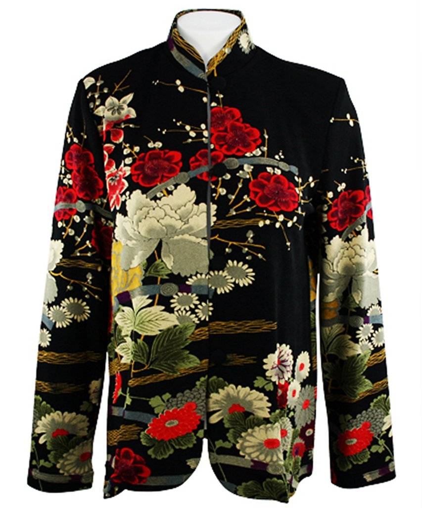 Moonlight - Asian Crane, Long Sleeve, Mandarin Collar, Black & Red Colored Asian Themed Woman's Top by Connie's Moonlight