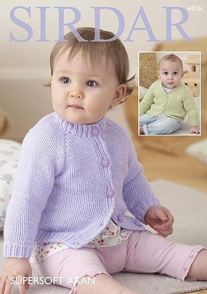74cdd7cde Sirdar 4826 Knitting Pattern Babys V and Round Neck Cardigans in ...