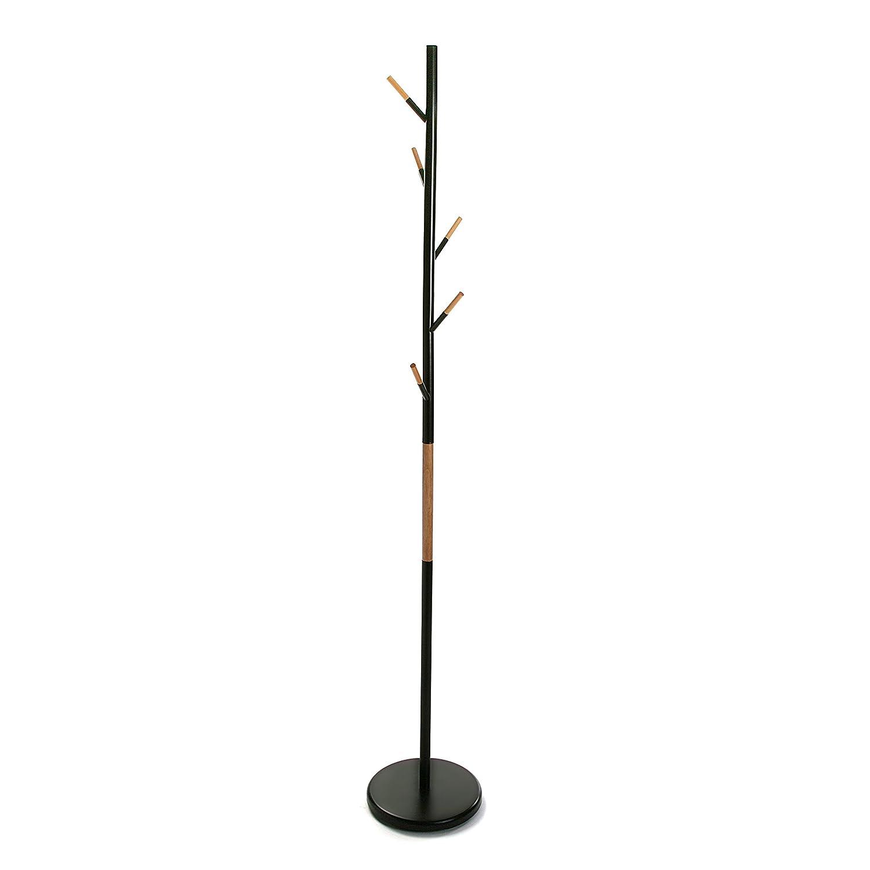 Versa 18790651 Perchero de pie Negro, Metal y madera, 173x28x28 cm, 5 colgadores