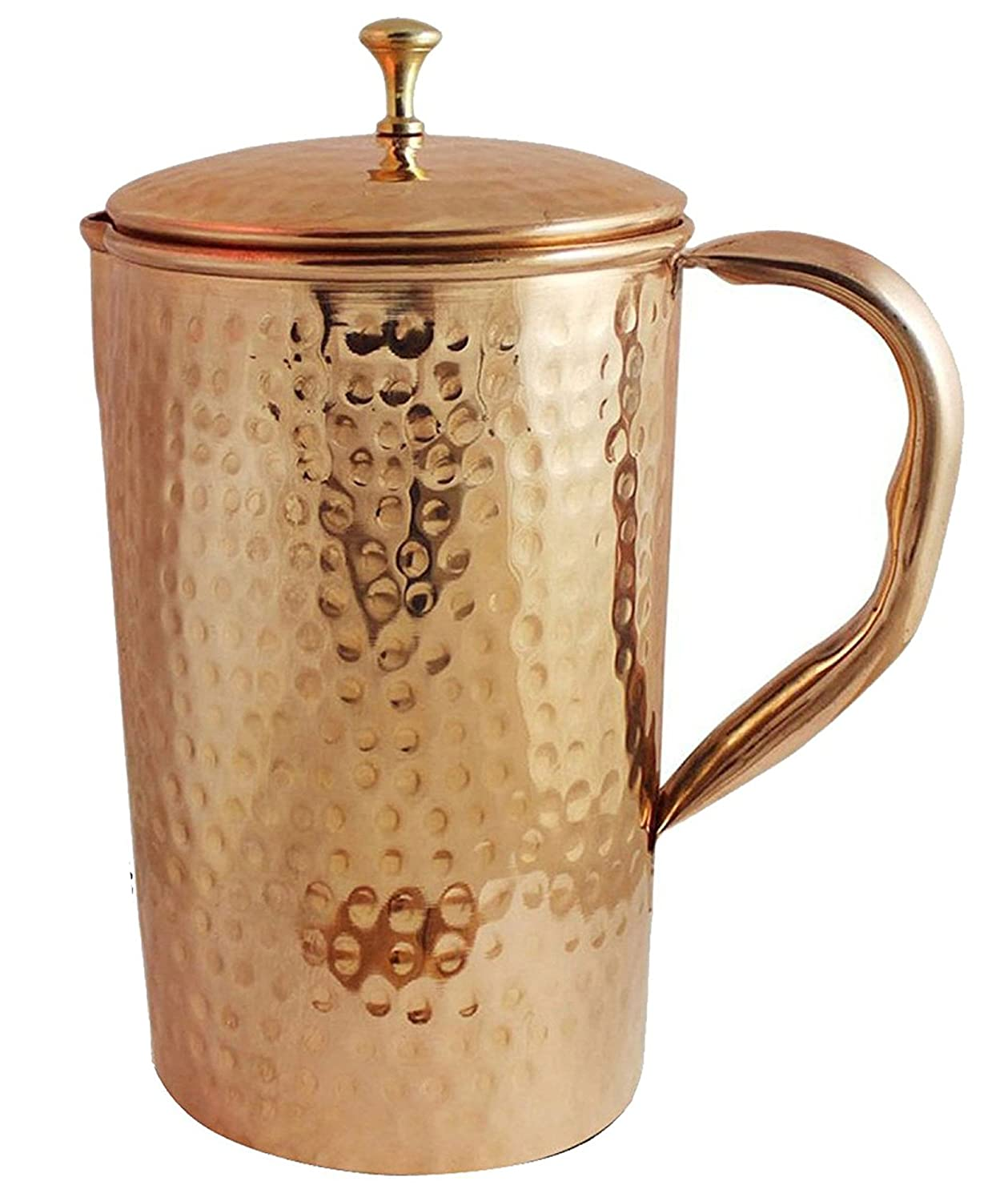 drinkware Pitcher with lid serving water jug storage copper good health benifit ayurveda carafe with handle indian treditional unbreakable home/hotel party SKAVIJ TCJ1