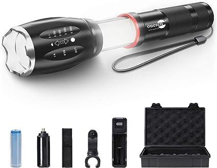 Proxinova/™ lampe torche LED 3000 Lumens CREE XM-L T6 Lampe torche Zoomable mise au point r/églable diodes 18 000 Super Bright Aliment/é par pile ou batterie lampe de poche en alliage daluminium
