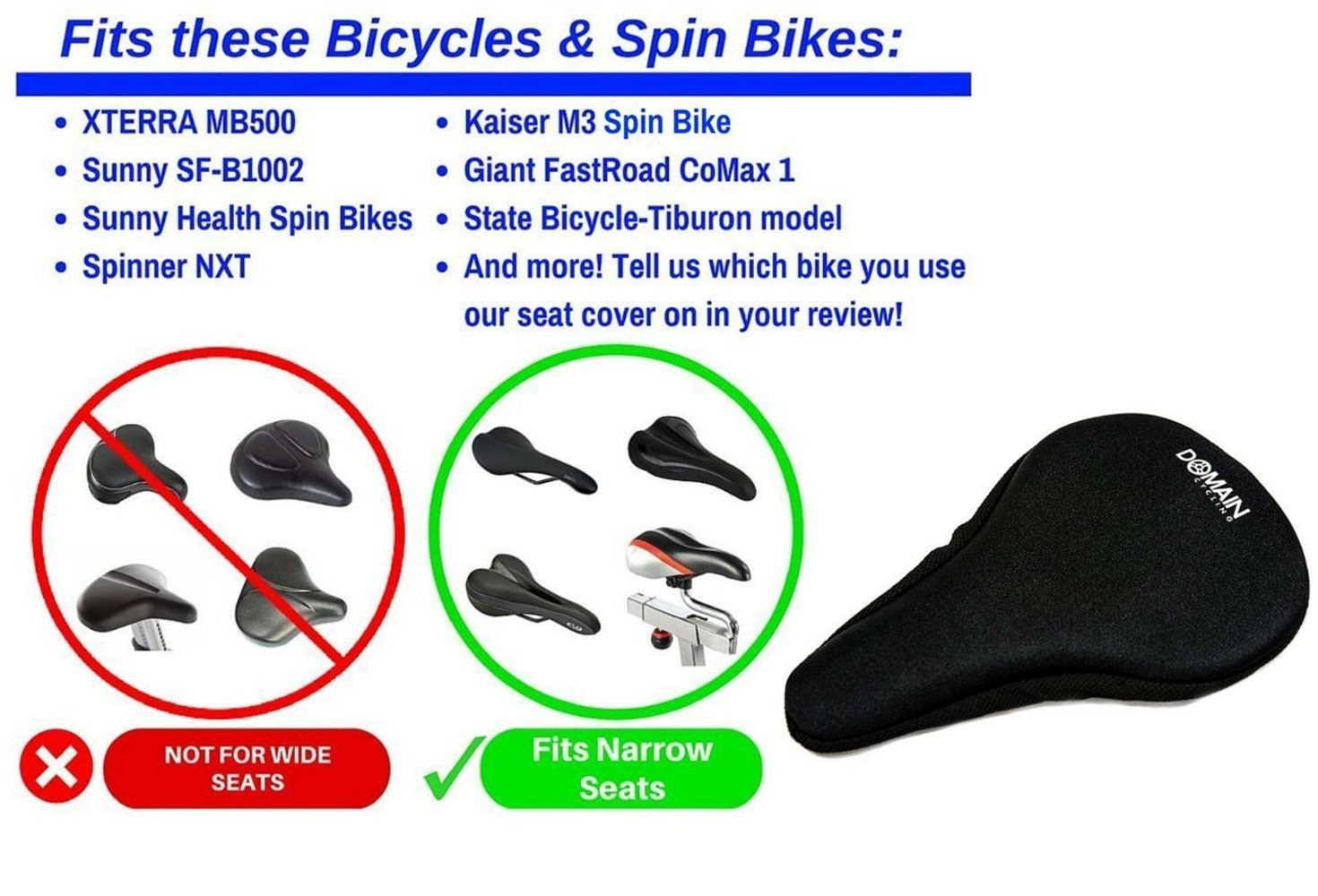 Premium Bike Gel Seat Cushion Cover 10.5''x7'' Domain Cycling - Most Comfortable Bicycle Saddle Pad for Spin Class or Outdoor Biking by Domain Cycling (Image #4)