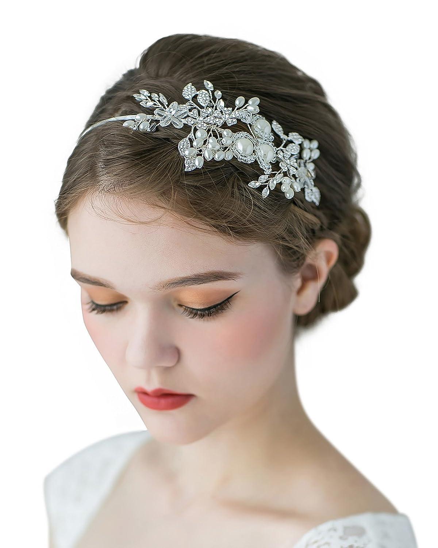 SWEETV Handmade Pearl Wedding Headbands for Women Rhinestone Hair Band Ivory Bridal Hair Jewlery SVDFS140044