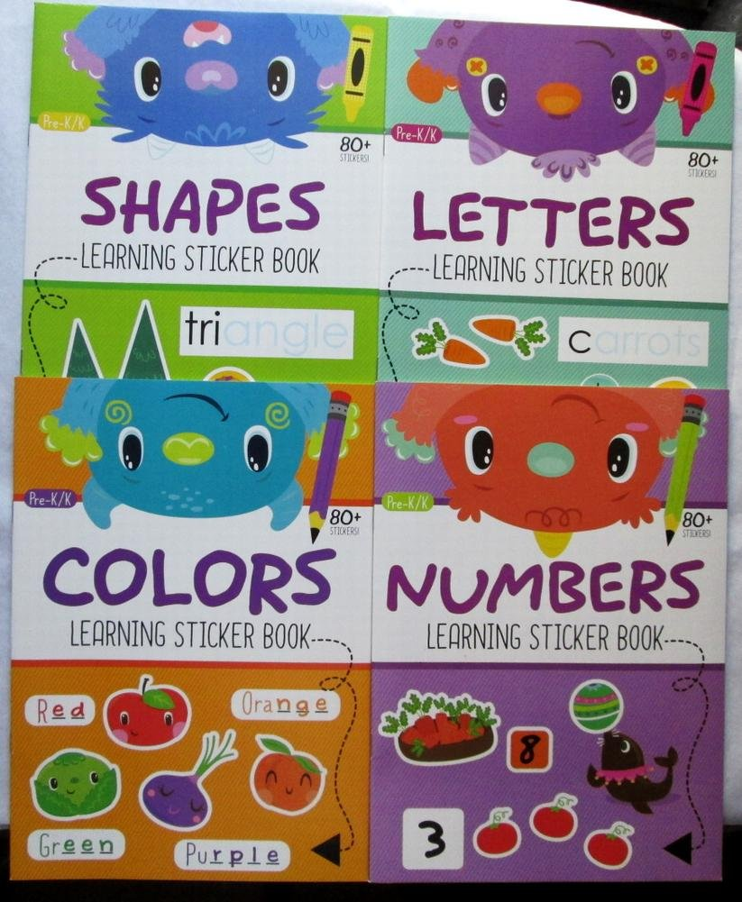 4 Kids Learning Sticker Book Bundle Includes Colors, Numbers, Shapes & Letters