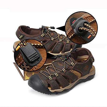 657a73da7d0 SHANGXIAN Mens Beach Walking Sandals Real Leather Slipper Closed-Toe  Trekking Shoes