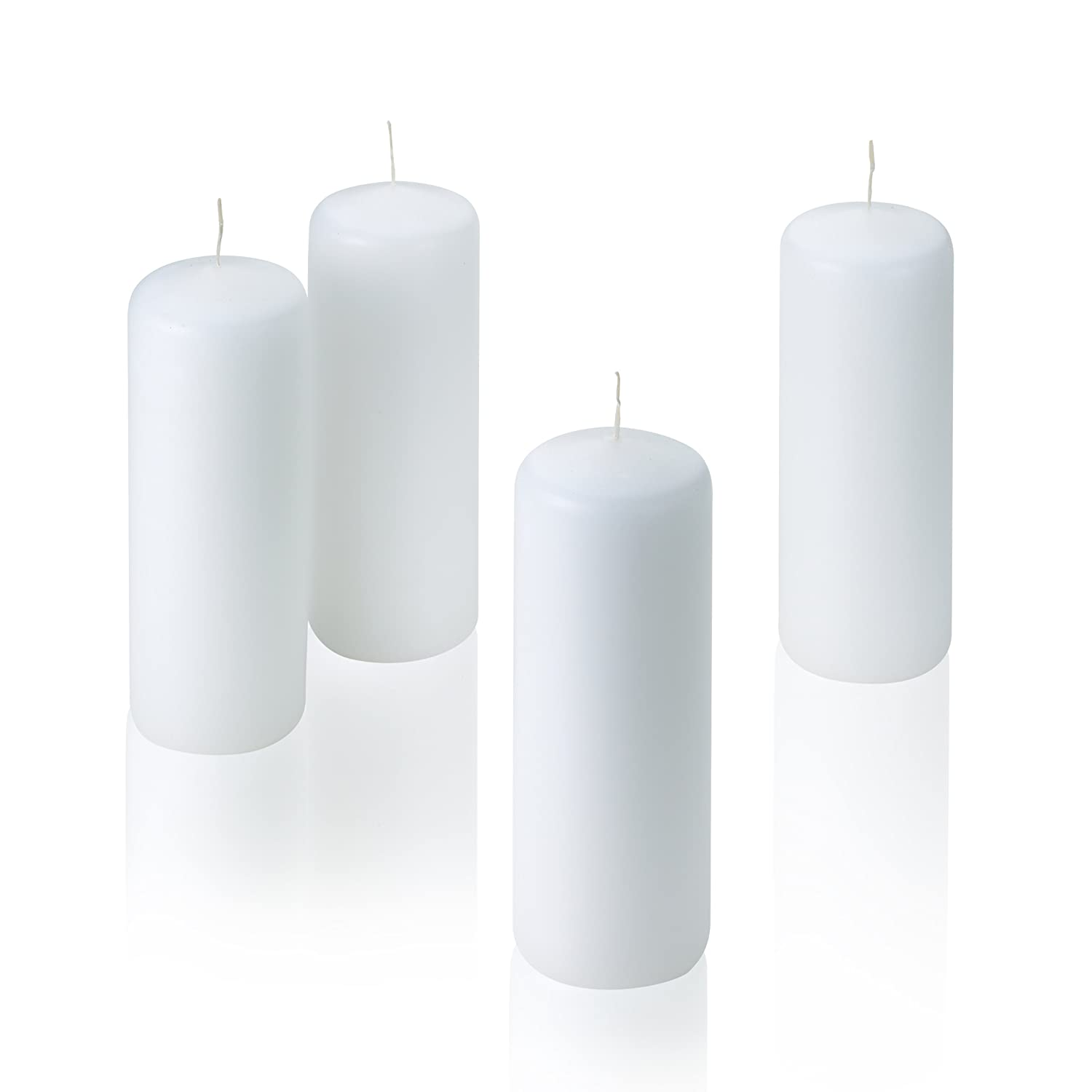Amazoncom White Pillar Candles  Set Of 4 Unscented Candles