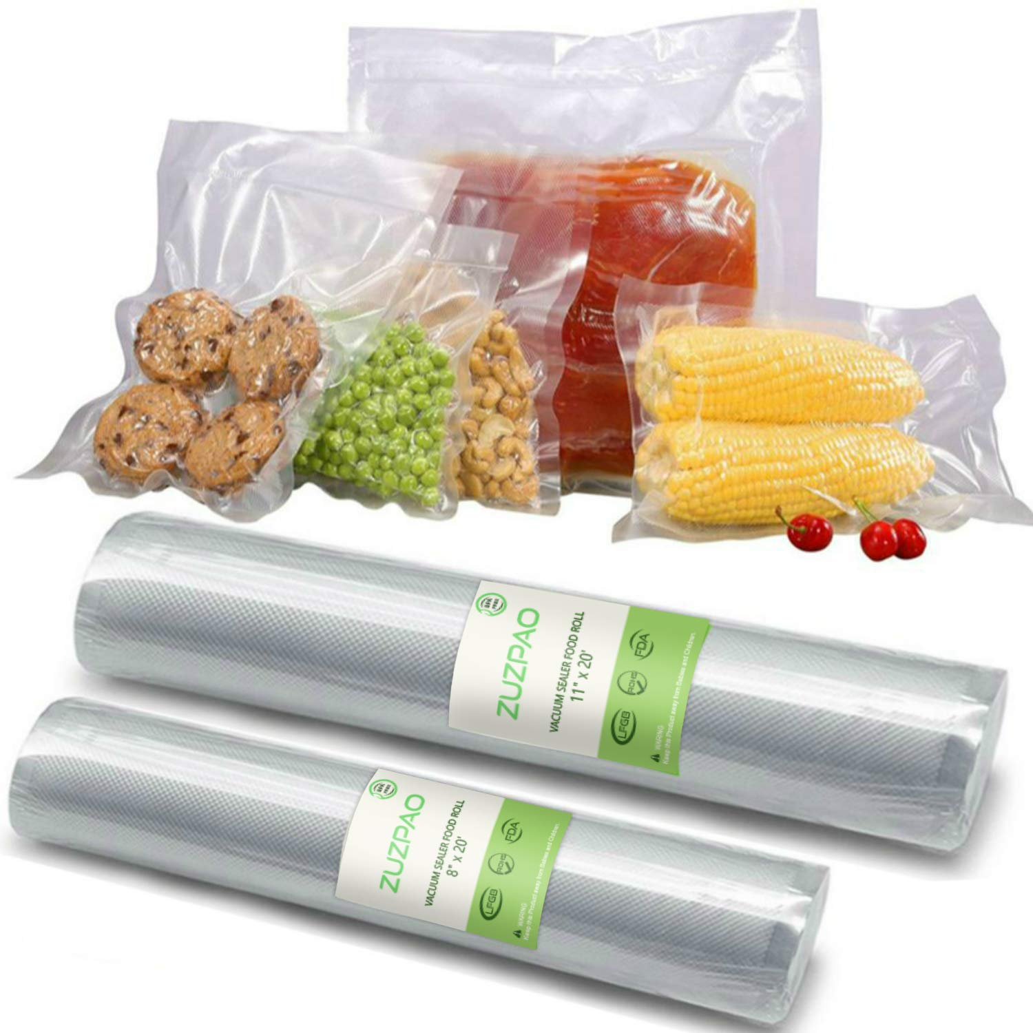 Vacuum Sealer Bags Rolls BPA Free, Zuzpao 11×20 and 8 ×20 Food Sous Vide Cooking Bags FDA Certified for Food Storage Saver Freezer Burn by ZUZPAO